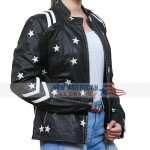 womens moto jacket with white stars