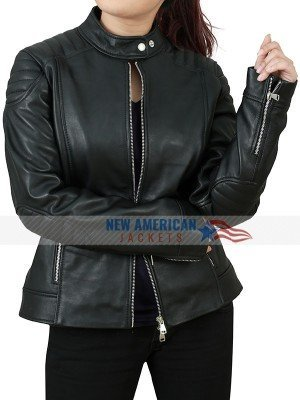 EMMA STONE WICHITA ZOMBIELAND DOUBLE TAP BLACK LEATHER JACKET