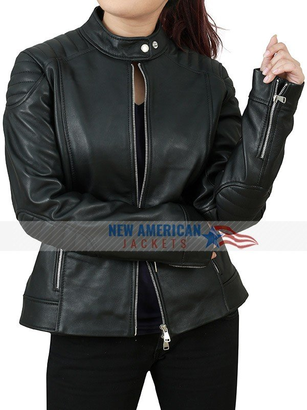WICHITA ZOMBIELAND DOUBLE TAP EMMA STONE BLACK LEATHER JACKET