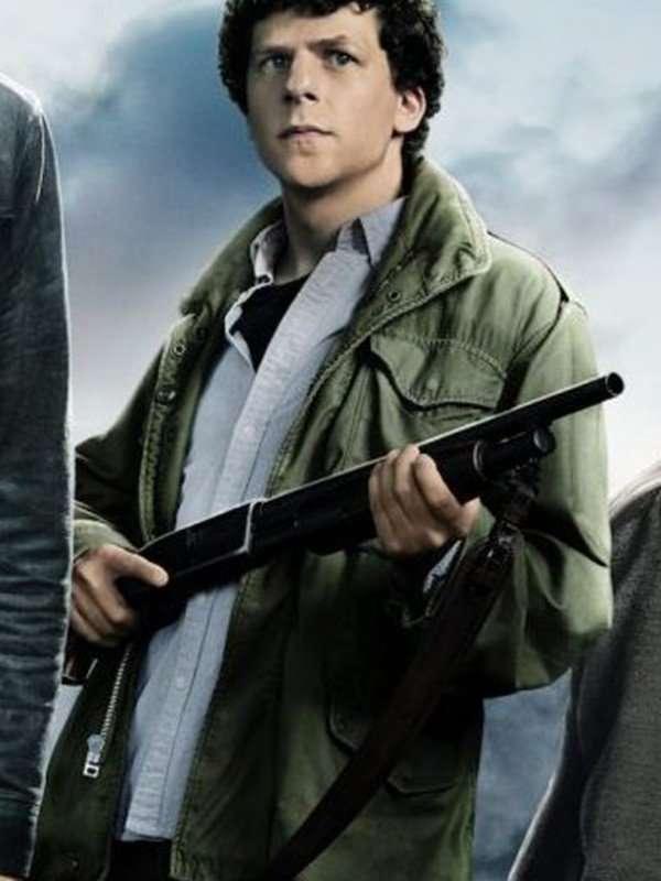 Jesse Eisenberg Green Cotton Jacket