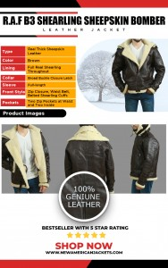 Men's RAF Shearling Sheepskin Flying Bomber Leather Jacket