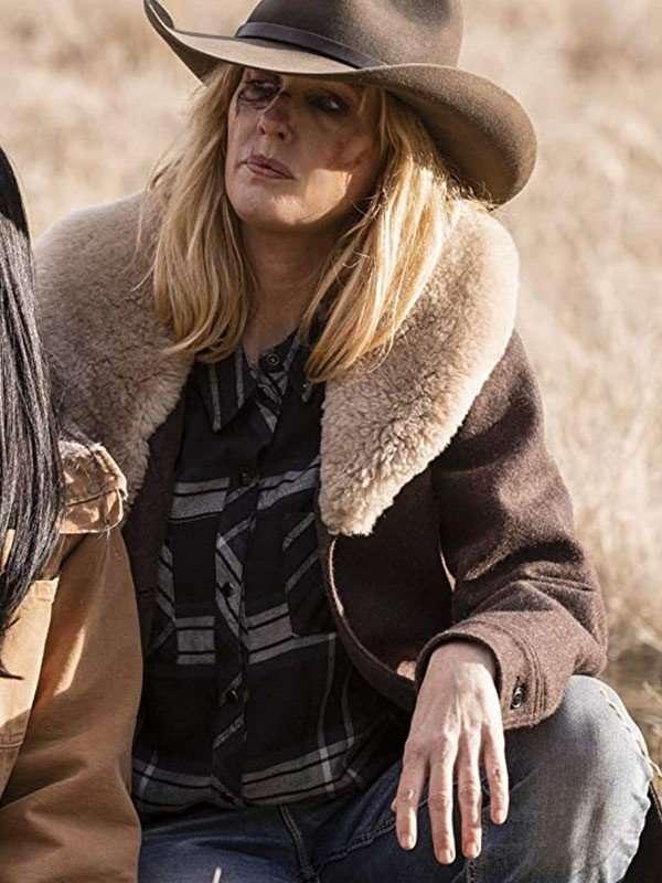 Tv Series Yellowstone beth dutton Brown Wool Coat