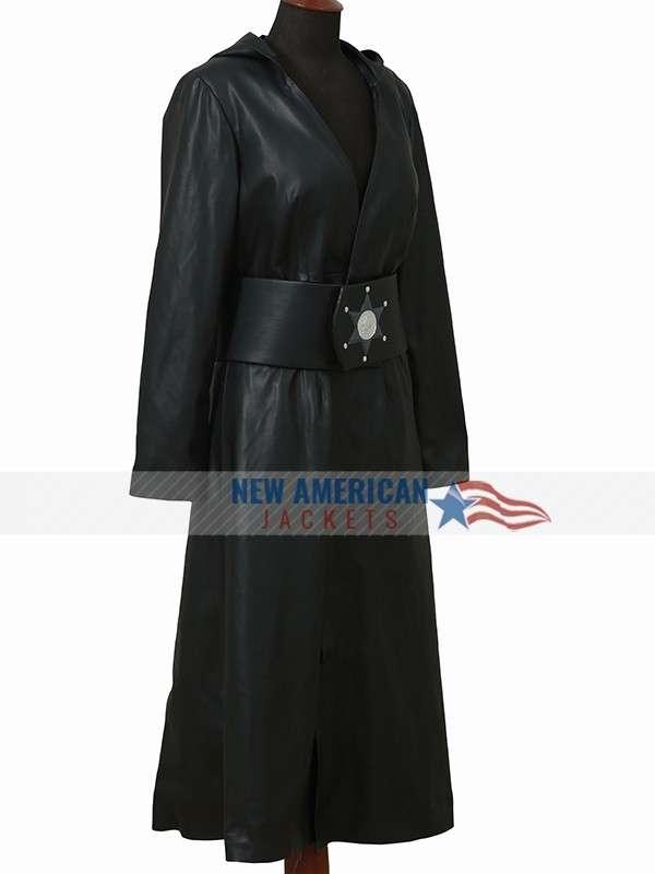Angela Abar Watchmen Leather Hoodie Coat