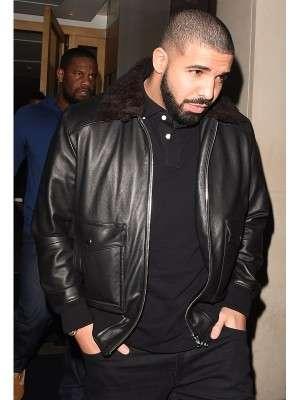 Rapper Drake Bomber Style Black Leather Jacket
