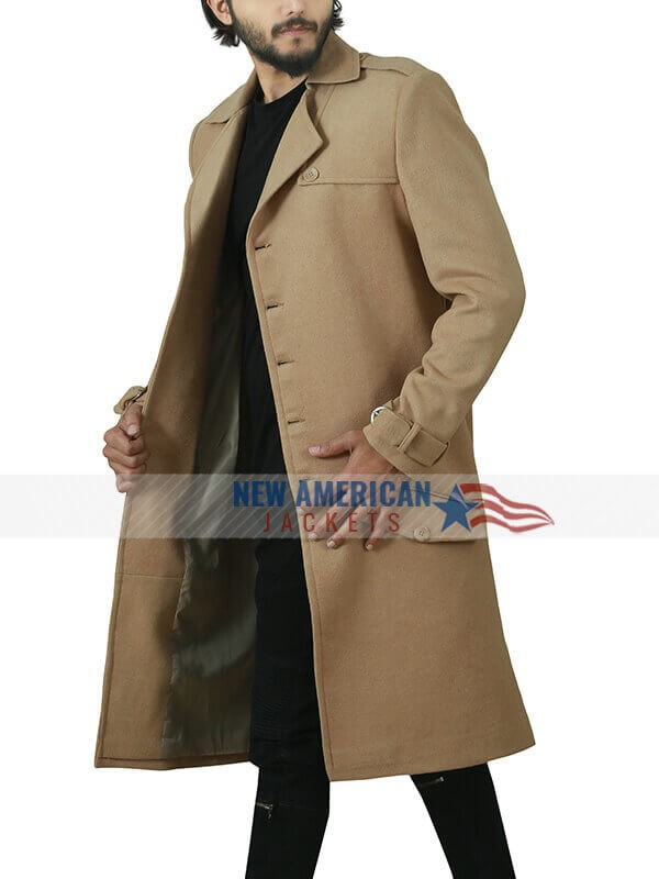 Last Christmas Henry Golding Brown Cotton Coat