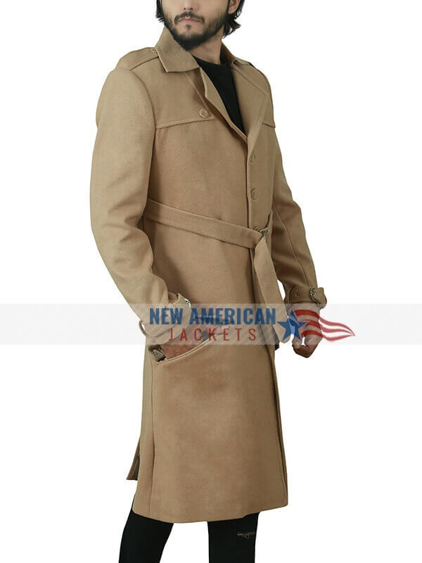 Tom Last Christmas Brown Cotton Trench Coat for Mens