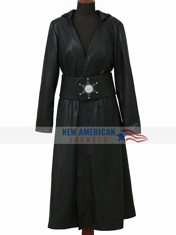 Watchmen Angela Abar Black Leather Hoodie