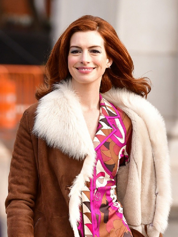Anne Hathaway shearling coat