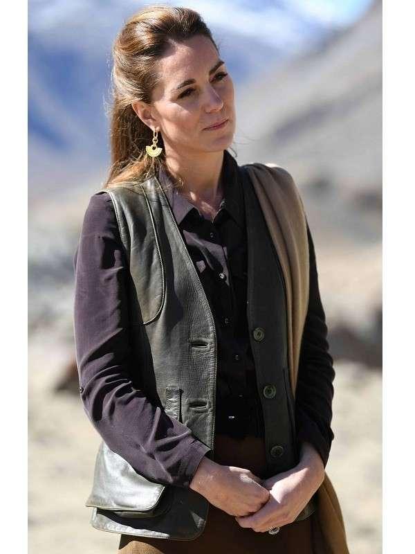 Catherine, Duchess of Cambridge Kate Middleton Chiatibo Glacier Pakistan Brown Leather Vest (2)