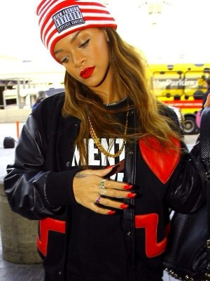 Singer Rihanna Love Heart Varsity Jacket