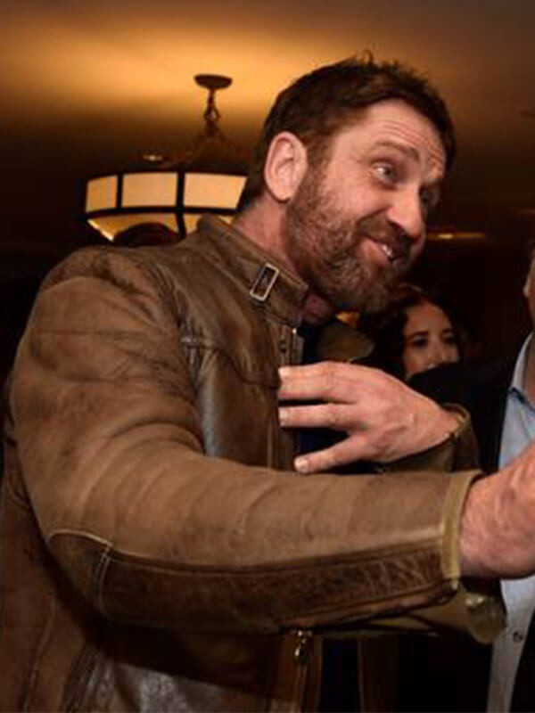 Actor Gerard Butler Brown Distressed Leather Jacket