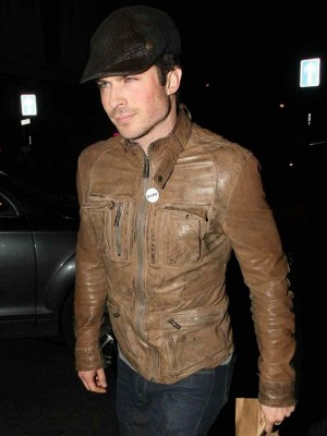 Ian Somerhalder Distressed Leather slimfit Jacket
