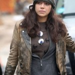 Actress Michelle Rodriguez Brown Leather Jacket