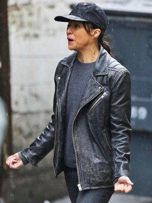 Michelle Rodriguez Distressed Leather Black Jacket
