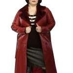 Actress Ruth Jones Fur Collar Red Leather Coat