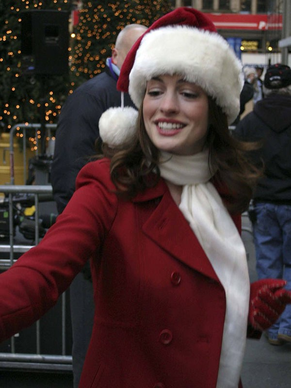 Anne Hathaway Christmas Wool Coat