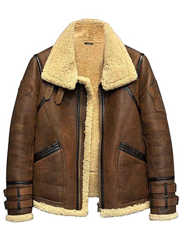 B3 Flight Aviator Mens Fur Shearling Leather Jacket