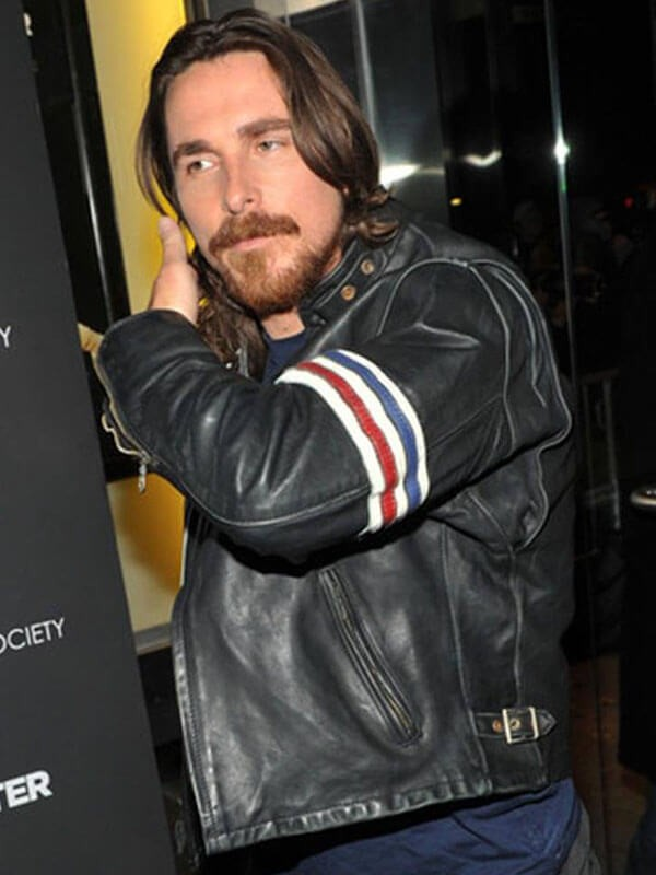 Christian Bale 3 stripe design leather Jacket