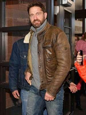 Gerard Butler Brown Distressed Leather Jacket
