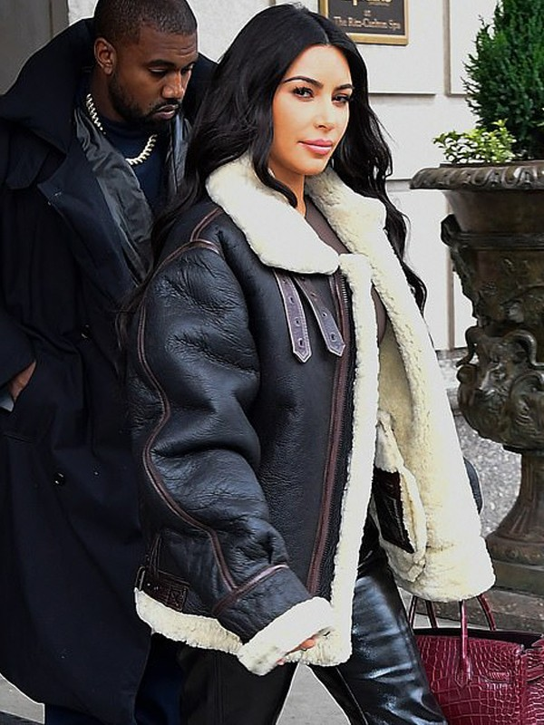 Kim Kardashian Bomber Shearling Jacket