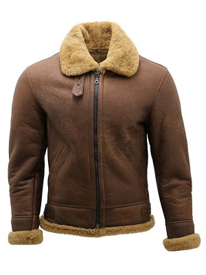 Mens RAF Flight Aviator Shearling Bomber Jacket