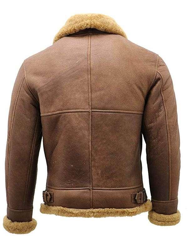 Mens WWII Flight Aviator Bomber Shearling Jacket