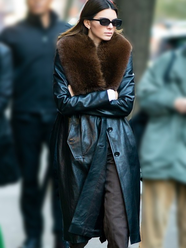 New York Kendall Jenner Black Trench Coat