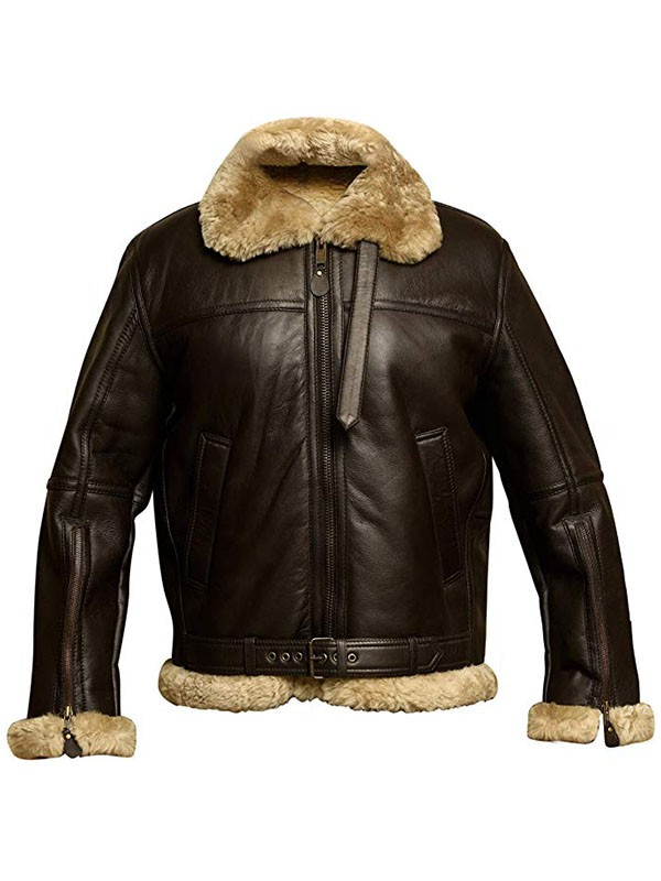 RAF Bomber Ginger Aviator Leather Jacket For Mens