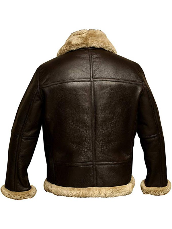 RAF Bomber Ginger Aviator Real Shearling Leather Jacket