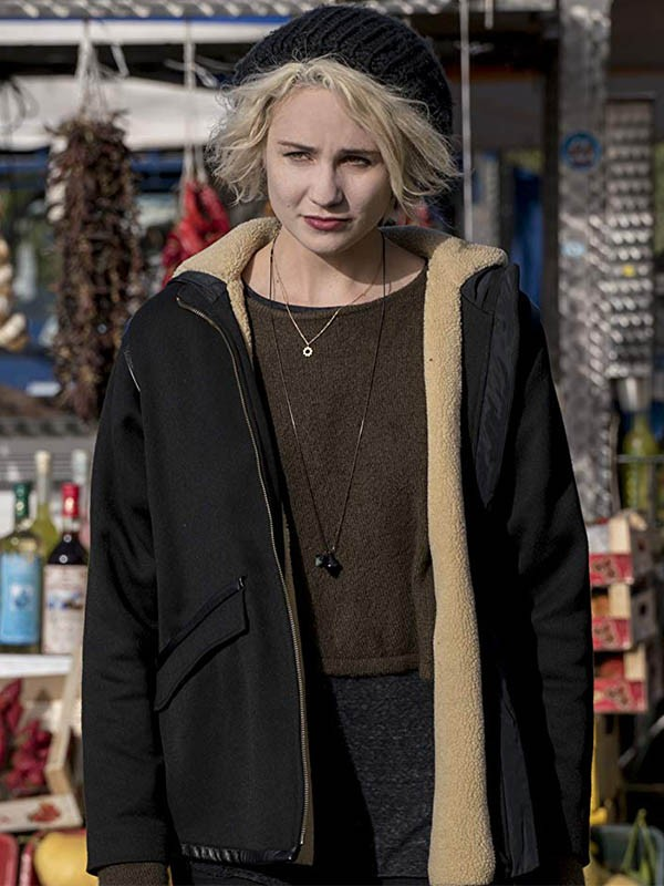 Sense8 Riley Blue shearling Leather Black Jacket