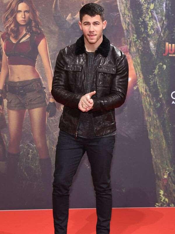 Alex Jumanji The Next Level Nick Jonas Leather Jacket
