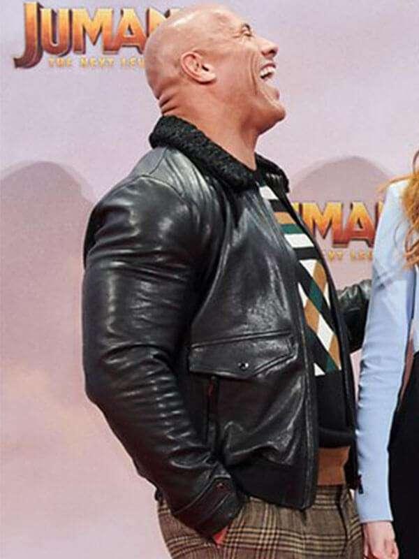 Dwayne Johnson Jumanji 3 Shearling Leather Jacket