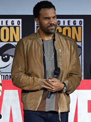 Black Widow Event O-T Fagbenle Brown Jacket