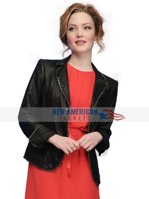 Holliday Grainger Black Leather Jacket