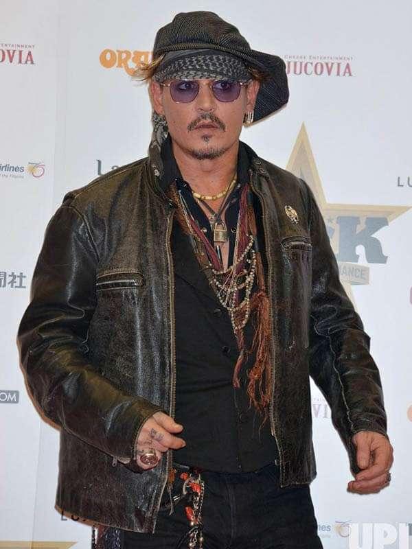 Johnny Depp Black Distressed Leather Jacket