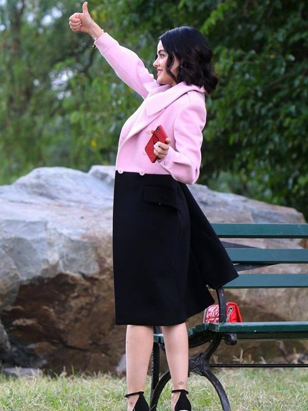Katy Keene Lucy Hale Pink and Black Coat
