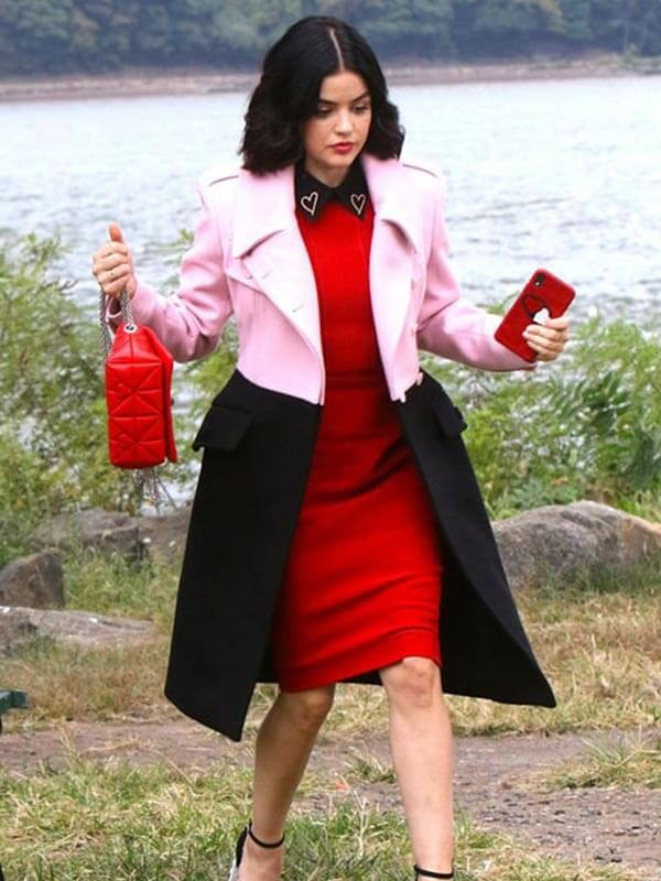Lucy Hale Black and Pink Coat in TV Series Katy Keene