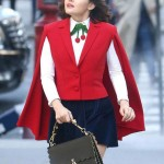 Lucy Hale Red Cape Vest in TV Series Kate Keene