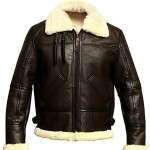 Mens B3 Bomber Aviator Fur Shearling Jacket