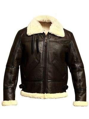 Mens B3 Bomber Aviator Winter Fur Shearling Jacket