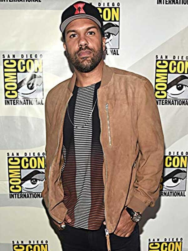 Movie Black Widow Event O-T Fagbenle Brown Jacket