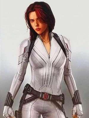 Scarlett Johansson Black Widow White Leather Jacket