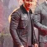 Nick Jonas Jumanji 3 Premier Brown Shearling Jacket