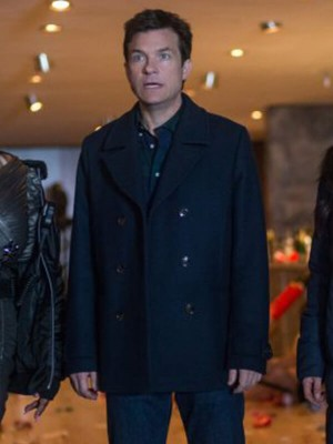 Movie Office Christmas Party Jason Bateman Black Trench Coat