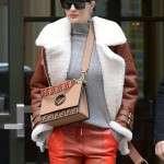 Rosie Huntington-Whiteley Brown Shearling Jacket