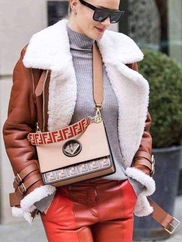 Rosie Huntington-Whiteley Shearling Leather Jacket