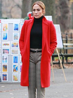 Jennifer Lopez Arrives on set Second Act Coat