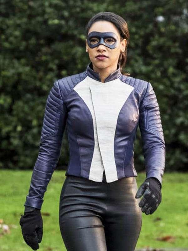 The Flash Iris West-Allen Blue Leather Jacket