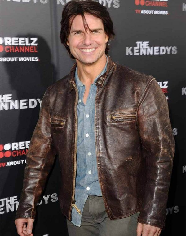 Tom Cruise Kennedys Series Premiere Distressed Leather Jacket