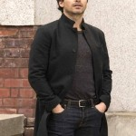 santiago cabrera salvation black wool coat